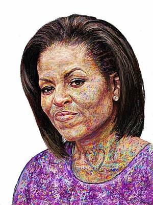 First Lady Michelle Painting - Michelle Obama With An Ipad by Edward Ofosu