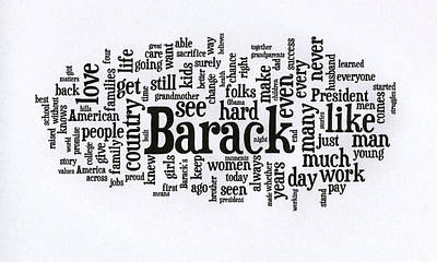Michelle Obama Wordcloud At D N C Art Print by David Bearden
