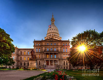 Photograph - Michigan Capitol - Hdr-1 by Larry Carr