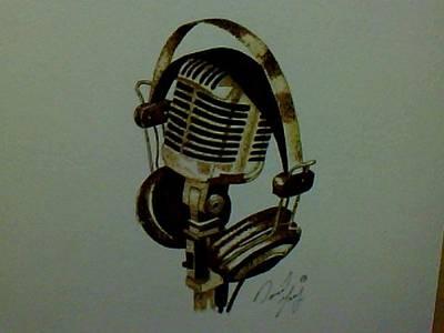 David Gray Pyrography - Microphone Burning by David Gray