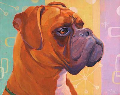 Mid Century Modern Boxer Dog Original by Shawn Shea