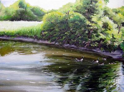 Painting - Mid Summer Day Canada Geese by Ronald Tseng