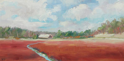 Cape Cod Painting - Mid-winter Cranberry Bog by Barbara Hageman