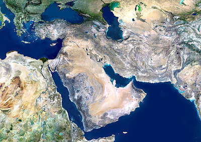 Middle East, Satellite Image Art Print by Planetobserver