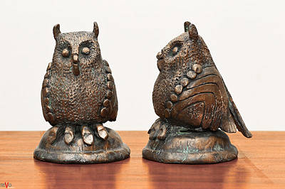 Sculpture - Midget Owls Bronze Sculpture Feathures Wings Beak Legs  by Rachel Hershkovitz