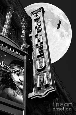 Orpheum Photograph - Midnight At The Orpheum - San Francisco California - 5d17991 - Black And White by Wingsdomain Art and Photography