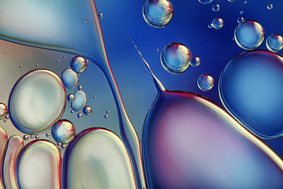 Photograph - Midnight Blue Bubble Abstract by Sharon Johnstone