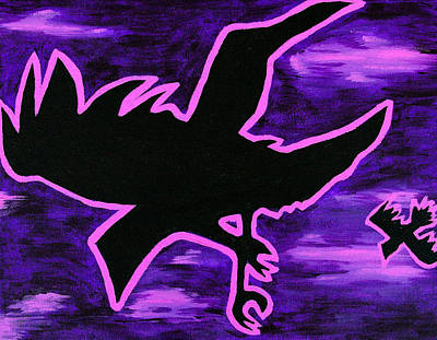 Crows Painting - Midnight Flight by Jera Sky