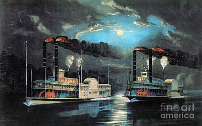 Photograph - Midnight Race On The Mississippi 1854 by Photo Researchers
