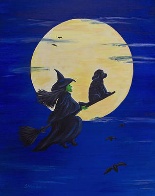 Newfoundland Puppy Painting - Midnight Ride by Sharon Nummer