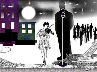 Drawing - Midnight Serenating by Belinda Threeths