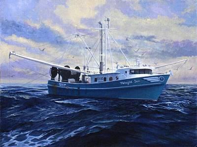 Tall Ships. Marine Art Painting - Midnight Sun by Phil Cusumano
