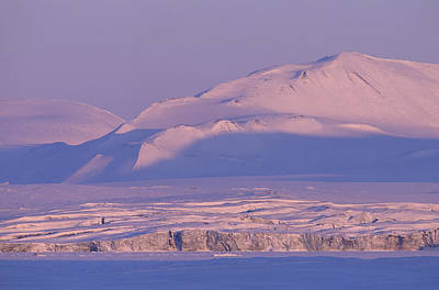 Midnight Sunlight On Polar Mountains Art Print