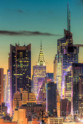 Midtown Buildings Morning Twilight Art Print by Clarence Holmes