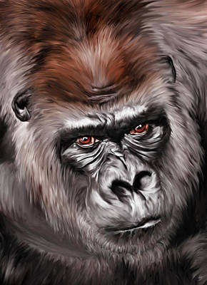 Gorilla Digital Art - Mighty Joe by Julie L Hoddinott