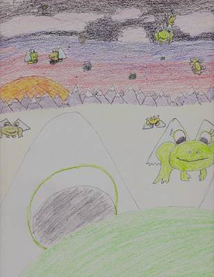 Mountain Sunset Drawing - Migrating Frogs by Mikala Coltrane