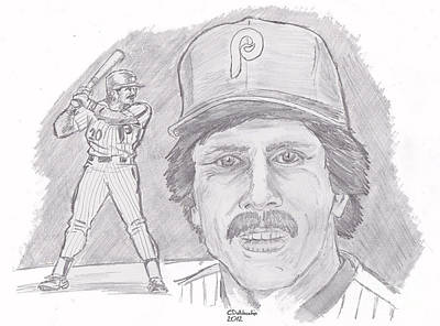 Print featuring the drawing Mike Schmidt by Chris  DelVecchio