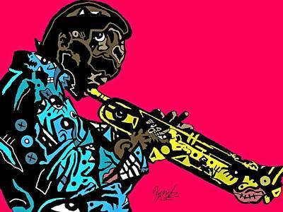 Blackart Digital Art - Miles Davis Full Color by Kamoni Khem