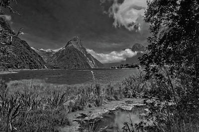 Photograph - Milford Sound In Black And White by Harry Strharsky