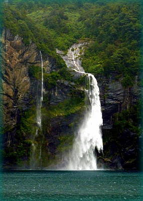 Photograph - Milford Sound Waterfall by Carla Parris