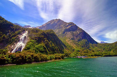 Photograph - Milford Sound Waterfall by Harry Strharsky