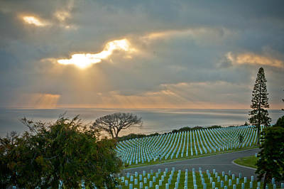 Photograph - Military Cemetery At Sunset by Anthony Doudt