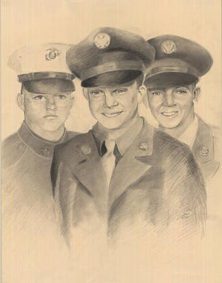 Drawing - Military Generations by Lee Hood