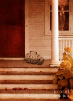 Milk Bottles On Porch Art Print by Jill Battaglia