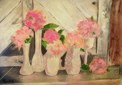 Milk Glass Vases With Flowers Art Print by Kemberly Duckett