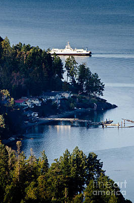 Mill Bay Ferry Passing Sandy Beach Rd Vancouver Island Bc Canada Art Print