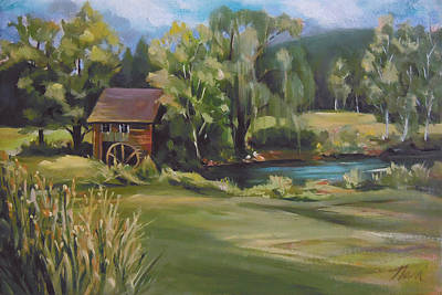 Painting - Mill By The Stream by Nancy Griswold