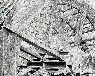 Mill Wheel - Glowing Edges Print by Jim Buda