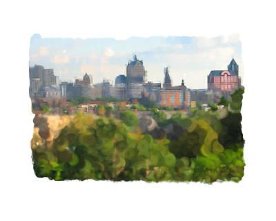 Digital Art - Milwaukee From Resevoir Park by Geoff Strehlow