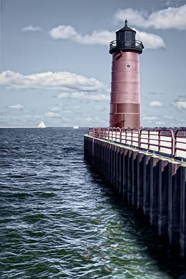 Vermeer Rights Managed Images - Milwaukee Pierhead Lighthouse Royalty-Free Image by Joan Carroll