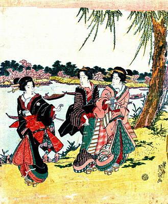 Mimeguri Cherry Blossoms 1818 Art Print by Padre Art