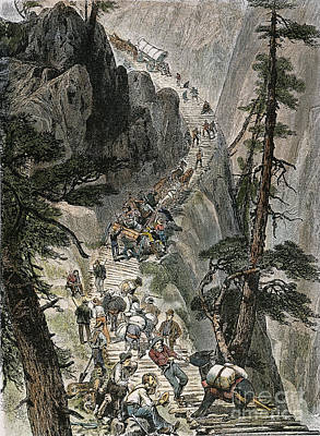 Miners On Corduroy Road.  Prospectors Traveling On Their Way To A New Strike Over A Corduroy Road Through A Colorado Mountain Pass. American Engraving, 1879 Art Print by Granger