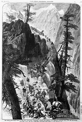 Miners On Corduroy Road.  Prospectors Traveling On Their Way To A New Strike Over A Corduroy Road Through A Colorado Mountain Pass. Wood Engraving, American, 1879 Art Print by Granger