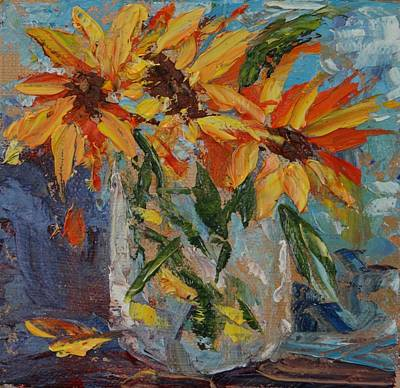 Mini Sunflowers In A Mason Jar Art Print by Carol Berning