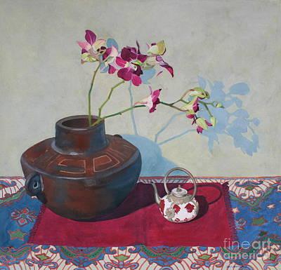 Teapot Painting - Miniature Teapot Still-life by Jan Lawnikanis