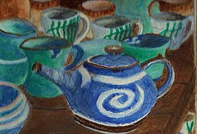 Painting - Miniature Teapots And Cups by Christy Saunders Church