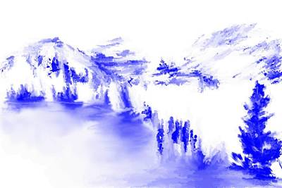 Digital Art - Minimal Landscape Monochrome In Blue 111511 by David Lane