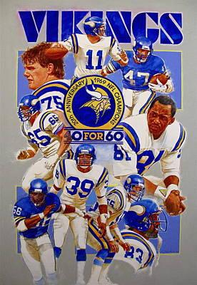 Painting - Minnesota Vikings 20th Anniversary  by Cliff Spohn