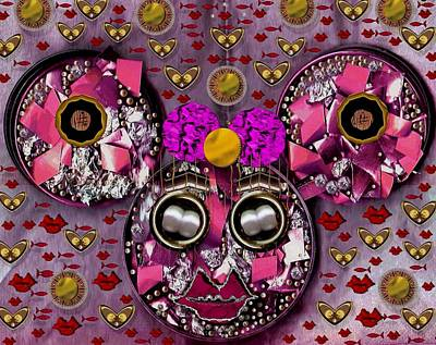 Mouse Mixed Media - Minnie Mouse In Love by Pepita Selles