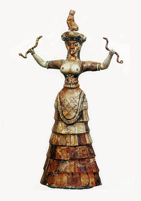 Minoan Photograph - Minoan Snake Goddess by Photo Researchers