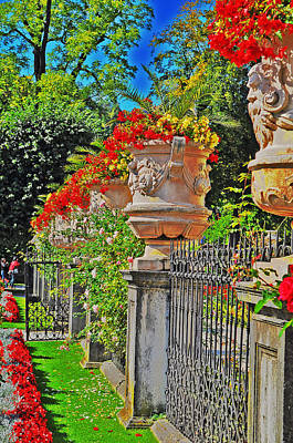 Mirabell Gardens In Salzburg Hdr Print by Mary Machare