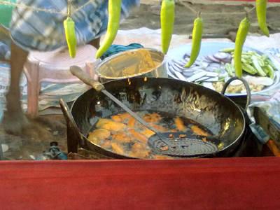 Garden Fruits - Mirchi bajji in the making by Asha Sudhaker Shenoy