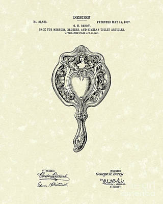 Drawing - Mirror Back Design II 1907 Patent Art by Prior Art Design