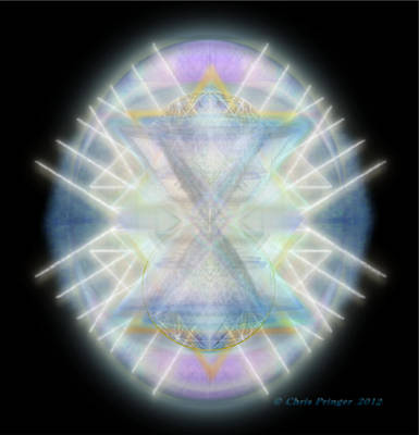 Art Print featuring the digital art Mirror Emergence IIi Blue Green Teal by Christopher Pringer