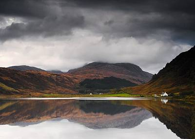Mirror Image Of Land In The Water, Loch Art Print