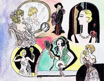 Mirror Drawing - Mirror Ladies by Mel Thompson